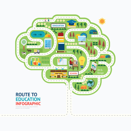 Illustration pour Infographic education human brain shape template design.learn concept vector illustration / graphic or web design layout. - image libre de droit