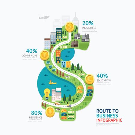 Illustration pour Infographic business money dollar shape template design.route to success concept vector illustration / graphic or web design layout. - image libre de droit