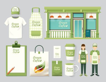 Foto de Vector restaurant cafe set shop front design, flyer, menu, package, t-shirt, cap, uniform and display design/ layout set of corporate identity mock up template. - Imagen libre de derechos