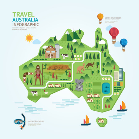 Illustration for Infographic travel and landmark australia map shape template design. country navigator concept vector illustration / graphic or web design layout. - Royalty Free Image