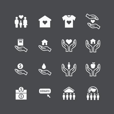 Ilustración de charity and donation silhouette icons flat design vector - Imagen libre de derechos