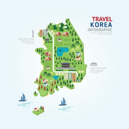 Foto de Infographic travel and landmark korea map shape template design. country navigator concept vector illustration / graphic or web design layout. - Imagen libre de derechos
