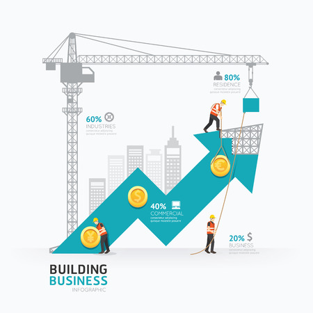 Illustration pour Infographic business arrow shape template design.building to success concept vector illustration / graphic or web design layout. - image libre de droit