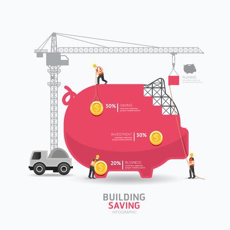 Illustration pour Infographic business piggy bank shape template design.building to success concept vector illustration / graphic or web design layout. - image libre de droit