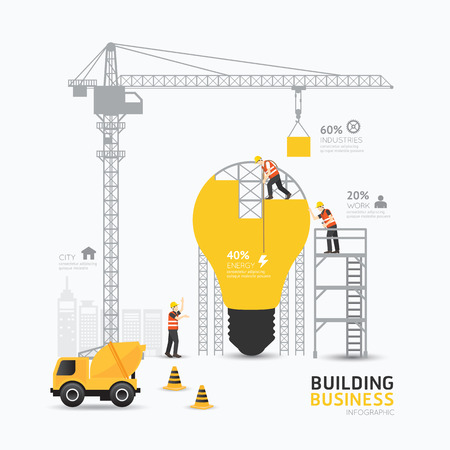 Illustration pour Infographic business light bulb shape template design.building to energy concept vector illustration / graphic or web design layout. - image libre de droit