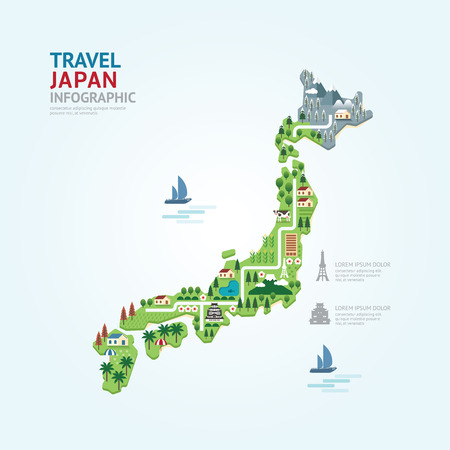 Illustration pour Infographic travel and landmark japan map shape template design. country navigator concept vector illustration / graphic or web design layout. - image libre de droit
