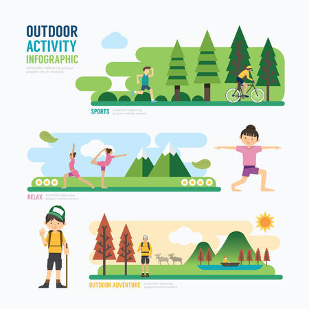 Ilustración de parks and outdoor activityTemplate Design Infographic. Concept Vector Illustration - Imagen libre de derechos