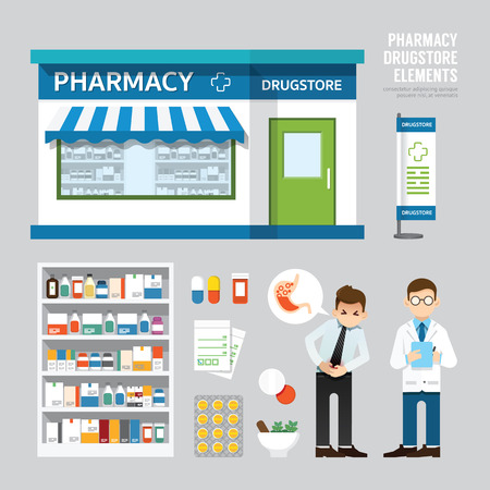 Illustration pour Vector pharmacy drugstore set design shop store package tshirt cap uniform and front display design layout set of corporate identity mock up template. - image libre de droit