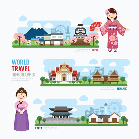 Illustration pour Travel and Building asia Landmark korea japan thailand Template Design Infographic. Concept Vector Illustration - image libre de droit