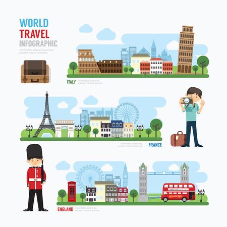 Foto de Travel and outdoor Europe Landmark Template Design Infographic. Concept Vector Illustration - Imagen libre de derechos