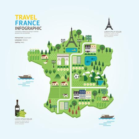 Ilustración de Infographic travel and landmark france map shape template design. country navigator concept vector illustration  graphic or web design layout. - Imagen libre de derechos