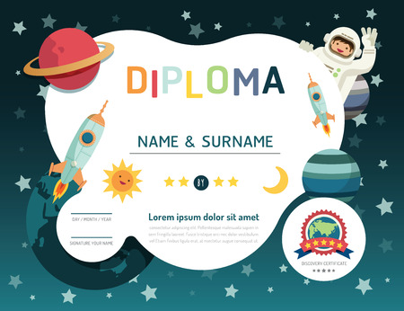 Foto de Certificate kids diploma, kindergarten template layout space background frame design vector. education preschool concept flat art style - Imagen libre de derechos