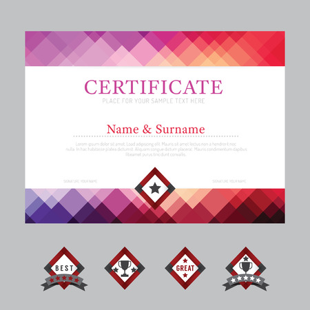 Illustration pour Certificate template layout background frame design vector. modern flat art style - image libre de droit