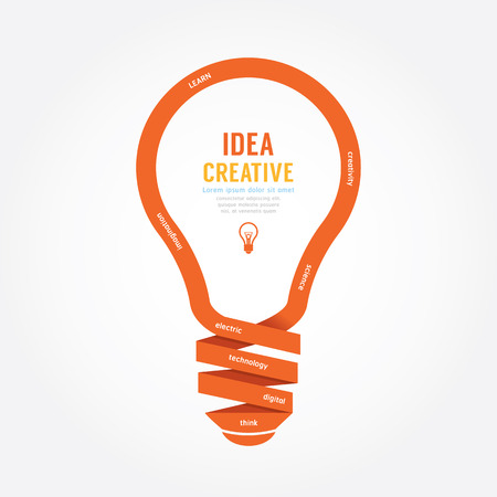 Illustration pour vector light bulb ribbon paper design creative line style. - image libre de droit