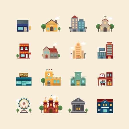 Illustration pour vector web flat icons set - buildings collection of city design elements. - image libre de droit