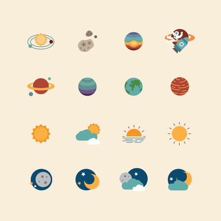 Illustration pour vector web icons set - space sun and moon collection of flat design elements. universe concept. - image libre de droit