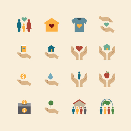 Illustration for charity and donation silhouette colour icons flat line design vector - Royalty Free Image