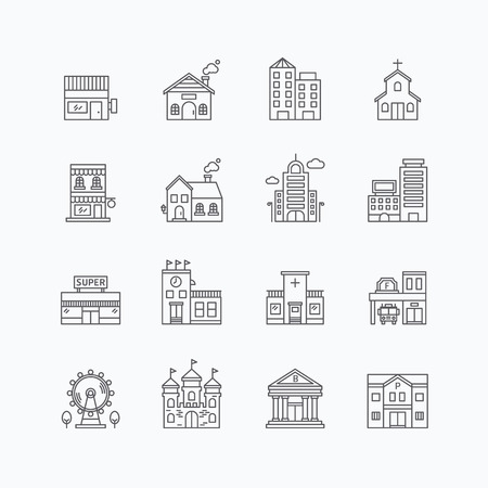 Ilustración de vector linear web icons set - buildings collection of flat line city design elements. - Imagen libre de derechos