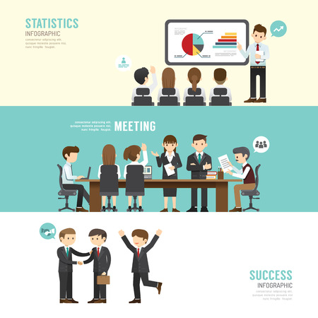 Ilustración de Business design conference concept people set presentation, training, meeting, success, agreement or partnership. with flat icons. vector illustration - Imagen libre de derechos