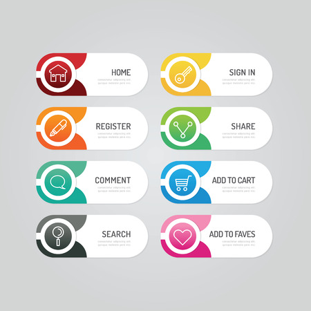 Ilustración de Modern banner button with social icon design options. Vector illustration. can be used for infographic workflow layout, banner, abstract, colour, graphic or website layout vector - Imagen libre de derechos