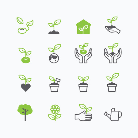 Ilustración de plant and sprout growing icons flat line design vector - Imagen libre de derechos
