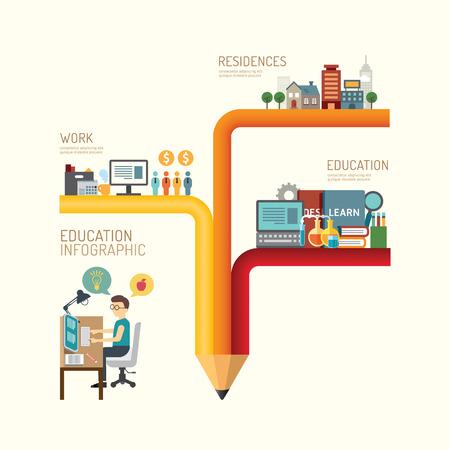 Ilustración de Business education concept infographic pencil step to successful icons flat design,vector illustration - Imagen libre de derechos