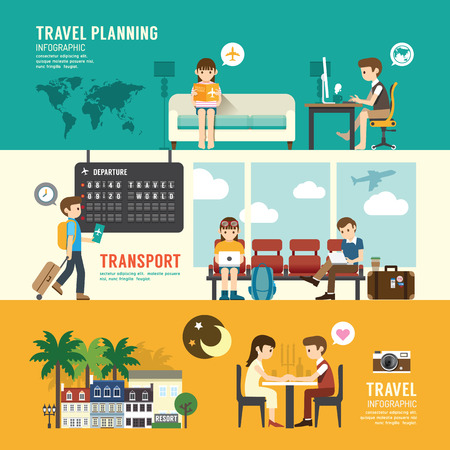 Illustration for Business travel design concept people set planning, searching, sitting, departure time in airport terminal. with flat icons. vector illustration - Royalty Free Image