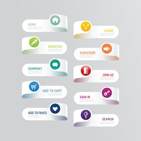 Ilustración de Modern banner button with social icon design options.  - Imagen libre de derechos