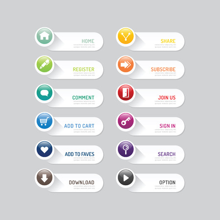 Illustration for Modern banner button with social icon design options. - Royalty Free Image