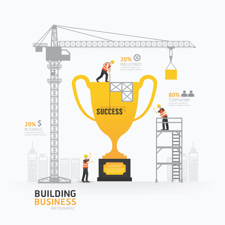 Photo for Infographic business trophies shape template design. - Royalty Free Image