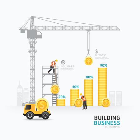 Illustration pour Infographic business money graph template design.  - image libre de droit