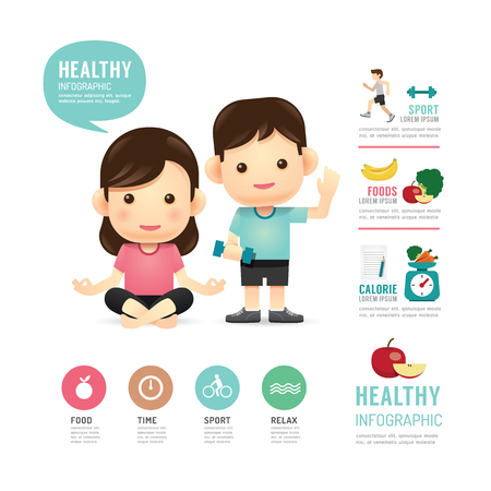 Illustration for health time food and sport people program design infographic,learn concept vector illustration - Royalty Free Image