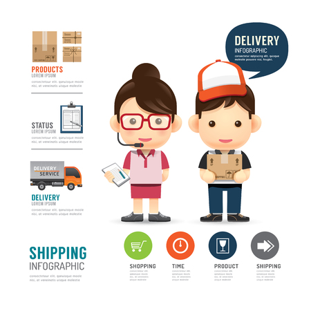 Illustration pour shipping infographic with people delivery service design,work job concept vector illustration - image libre de droit