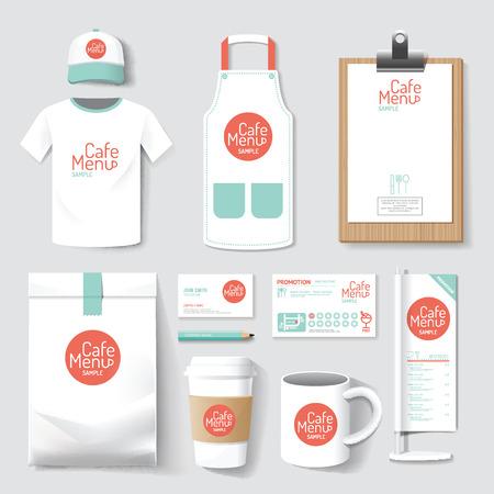 Illustration for restaurant cafe set menu, package, t-shirt, cap, uniform design layout set of corporate identity mock up template. - Royalty Free Image