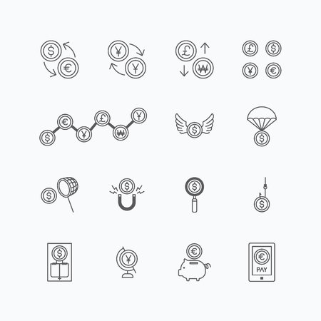 Illustration for vector linear web icons set - business money currency coin concept collection of flat line design elements. - Royalty Free Image