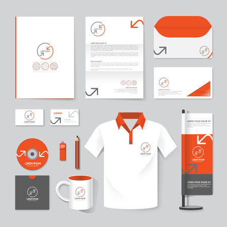 Ilustración de Vector brochure, magazine, folder, t-shirt,cover booklet poster mockup design template layout stationery annual report A4 size set of corporate identity template. - Imagen libre de derechos