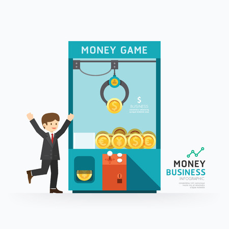 Illustration pour Infographic business claw game template design. How to success concept vector illustration / graphic or web design layout. - image libre de droit