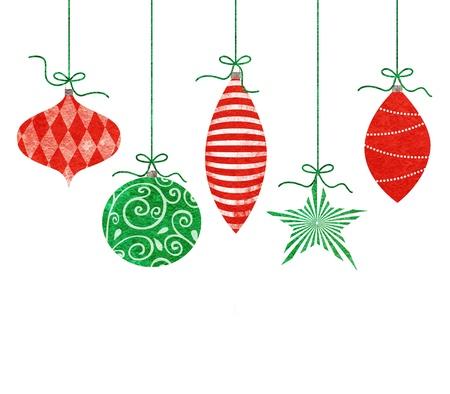 Foto de Five cute retro Christmas ornaments hanging by green string - Imagen libre de derechos