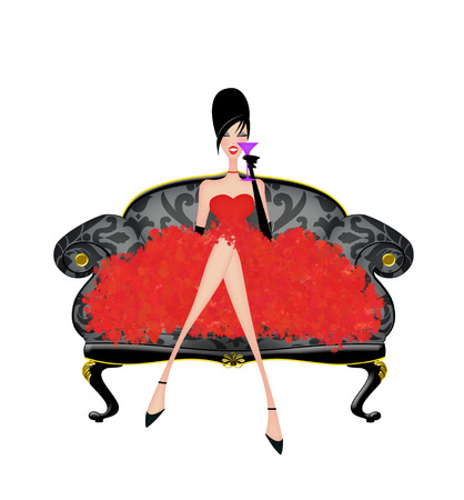 Photo for Beautiful woman in a frilly party dress on a damask sofa isolated on white - Royalty Free Image
