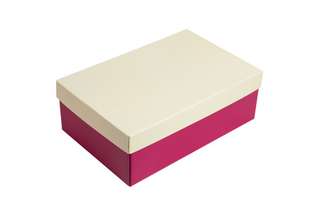 Foto de Pink shoes box with beige lid for shoe or sneaker product packaging mockup, isolated on white background. with clipping path. - Imagen libre de derechos