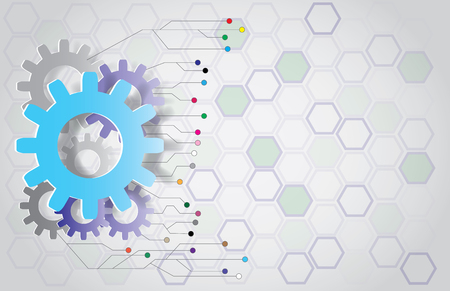Illustration pour Vector gear wheel and circuit board. Template for hi-tech digital technology and engineering - image libre de droit