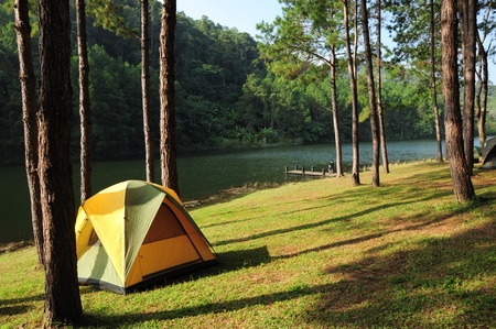 Camping tents by the river