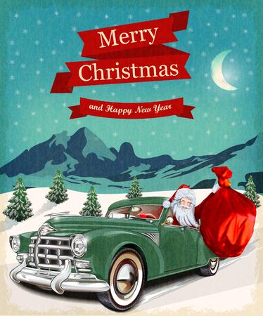Illustration pour Christmas greeting vintage card - image libre de droit
