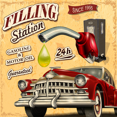 Photo pour Filling station retro poster - image libre de droit