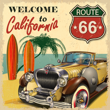 Illustration pour Welcome to California retro poster. - image libre de droit