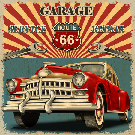 Illustration for Vintage garage retro poster - Royalty Free Image