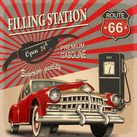 Illustration pour Filling station retro poster - image libre de droit