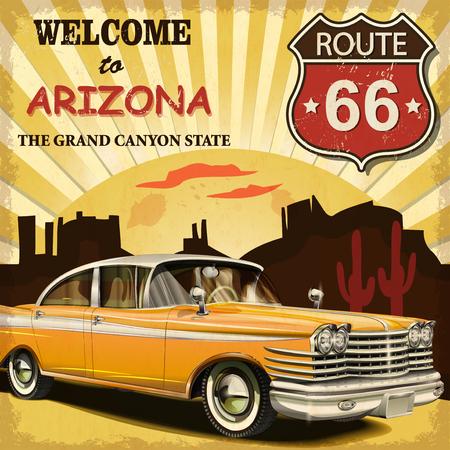 Illustration pour Welcome to Arizona retro poster. - image libre de droit