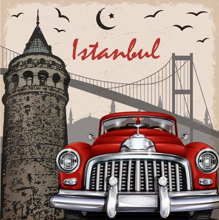 Ilustración de Istanbul retro poster. - Imagen libre de derechos