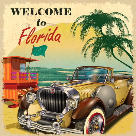 Photo pour Welcome to Florida retro poster. - image libre de droit